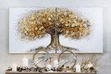 """Gemälde """"großer Baum auf Wiese"""" weiß/natur/gold/braun, mit Holzscheiben 100% Acrylfarbe, auf Leinwand 2-Teiler je 60x60cm"""