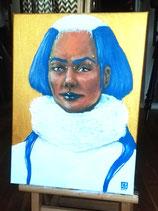 Golden Blue Queen in White