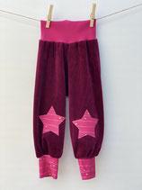 Babyhose Nicky weinrot + Streifen pink - Gr. 74-86