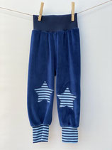 Babyhose Nicky dunkelblau + Streifen dunkelblau/hellblau- Gr. 74-86