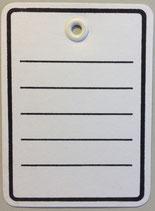Kartonetikett 40x50 mm, weiß, bedruckt, mit Plastiköse