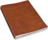 X17 A4+ Super-Buch LeatherSkin cognac, vegetabil gegerbt, mit 2 x Notizen + Doppeltasche + Schnellhefter
