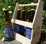 6er Bier-Träger aus Holz, unbehandelt mit Ossos-Logo inkl. 6 Flaschen Ossos-Naturradler