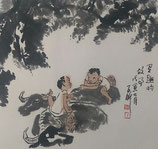 Two and two by Kuang Xu ink on paper (1940-1999)