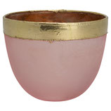 Greengate Windlicht Votive pale pink Rosa mit Goldrand