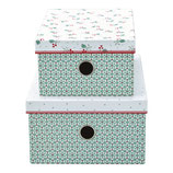 Greengate Boxen  Christmas Car white 2er Set Aufbewahrung