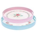 Greengate Tablett Meryl white Melamin 2er Set rosa blau