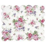 gestepptes Tischset Platzdeckchen Rose white Placemat curved