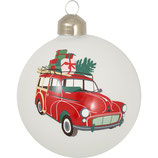 Greengate Weihnachtskugel Christmas Car Charline Glas weiß