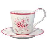 Greengate Tasse mit Untertasse Cup Saucer Flora white