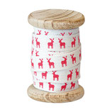 Greengate Ribbon Webband Reindeer Rentier Red