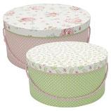 Greengate Storage Box Aufbewahrungsschachteln Meryl Mega white / Lily white Hutschachteln
