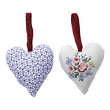 Greengate XMas Anhänger Herz Heart Juno dusty blue 2er Set