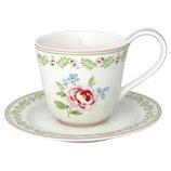 Greengate Tasse mit Untertasse Cup Saucer Lily petit white