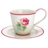 Greengate Tasse mit Untertasse Cup Saucer Lily white