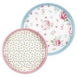 Greengate Tablett Meryl Mega white Melamin 2er Set rosa blau grün