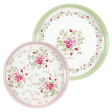 Greengate Tablett Mary white Melamin 2er Set rosa grün