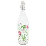 Constanze white Glasflasche mit Bügelverschluss und Blumenmuster 0,9 Liter