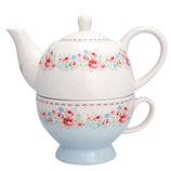Greengate Tea for one Kanne mit Tasse Tess white