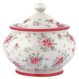Greengate Zuckerdose sugar pot Flora white
