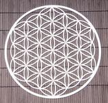 Blume des Lebens aus Edelstahl mit Kristallen