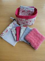 Kit lingettes motif fleurs roses