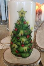 Premium Kerze mit Weihnachtsbaum Motiv