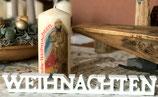 """Premium Kerze mit Motiv """" Heilige Familie """" und Überschrift frohe Weihnachten"""