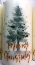 Premium Kerze mit Weihnachtsbaum Motiv - Merry Christmas