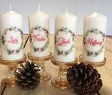 4 Premium Kerzen mit Kranz und Überschrift: Frieden, Glaube, Liebe, Hoffnung
