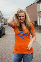 Oranje shirt - blauw hart (dames)
