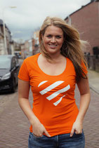 Oranje shirt - wit hart (dames)