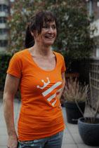 Oranje shirt - wit Koningshart (dames)