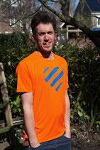 Oranje shirt - blauw hart (HEREN)