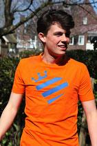 Oranje shirt - blauw Koningshart (HEREN)