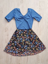 Wickelrock aus Chiffon Blumen bunt jeansblau