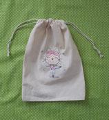 Spitzenschuhbeutel Stickerei Katze Ballerina