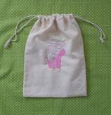 Spitzenschuhbeutel ohne Namen, rosa Stickerei
