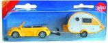 Spielzeug PKW VW Beetle Cabrio gelb mit Wohnwagen für Kids SIKU 1:48