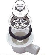 Ablaufgarnitur 20 mm Spüle Spülbecken Stöpsel Ablauf weiß 90° <)