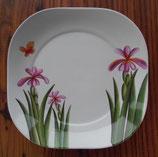 Teller runde Ecken 4 Stk. ≙ 2,-€/Stk. Summer Blume Schmetterling weiß