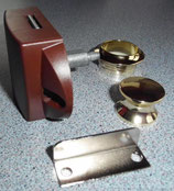 Push Lock f. Stangen Schloss gold/braun Spezial Schlösser Möbel