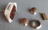 Push Lock Schloss ∢ beidseitig weiß/silber2 Knöpfe + 1 Rosette o.L.