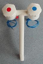 Wasserhahn kalt/warm Mischer weiß mit Schalter Wohnmobil
