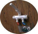 Wasserhahn Mischer COMPACT Mischbatterie in Weiß kalt/warm