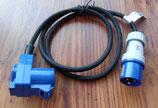Adapterkabel 230 V CEE Stecker, CEE Winkel Kupplung + Schukokupplung