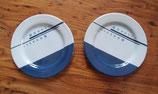 1 Paar Melamin Geschirr Teller Blaue Streifen und Punkte