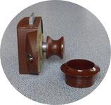 Push Lock f. Stangen Ersatz Schloss Spezial Schlösser Möbelschloss Knopf + Rosette braun