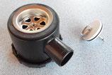 Siphon schwarz 39mm mit 1 Zugang Ablauf Stöpsel + Stift, Rohrsystem