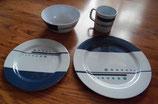 1er Melamin Geschirr-Set Blaue Streifen und Punkte